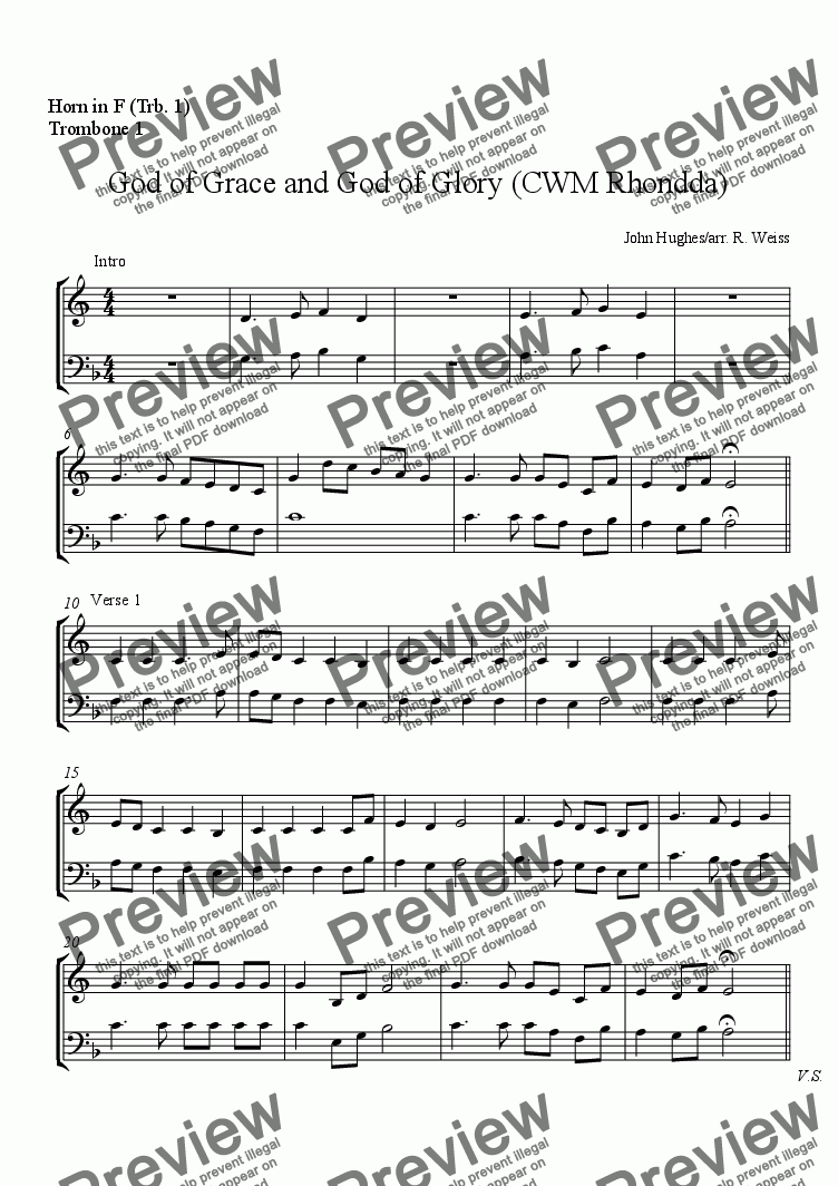 page one of the Horn in F (Trb. 1), Trombone 1 part from CWM Rhondda (God of Grace) for Octet