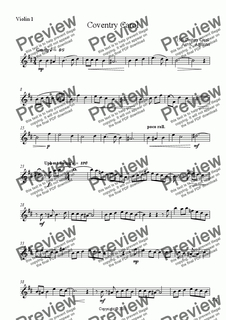 page one of the Violin 1 part from Coventry Carol - String Quartet