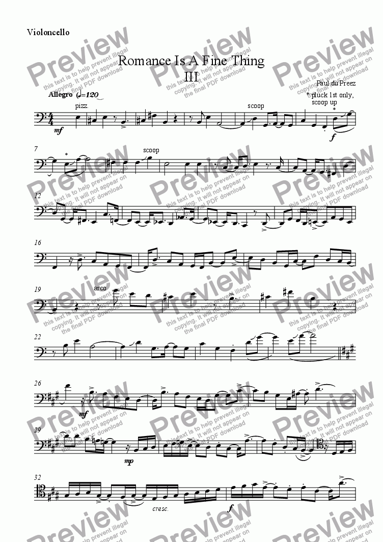 page one of the Violoncello part from Romance Is A Fine Thing III