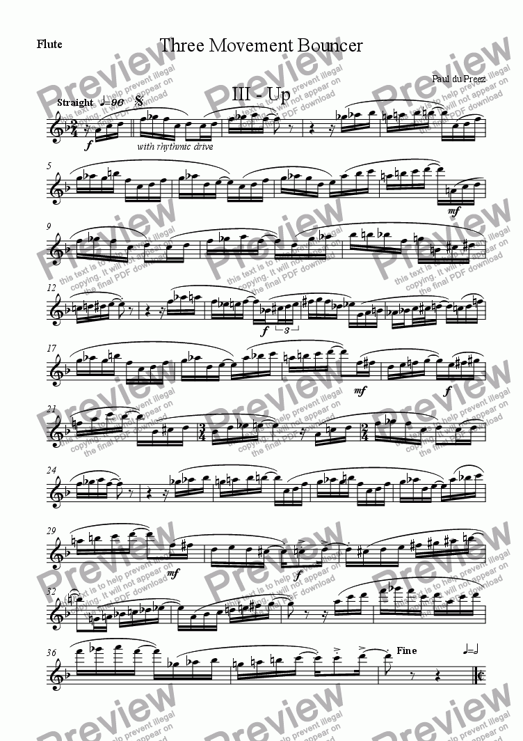 page one of the Flute part from Three-Movement Bouncer III (flute&oboe)