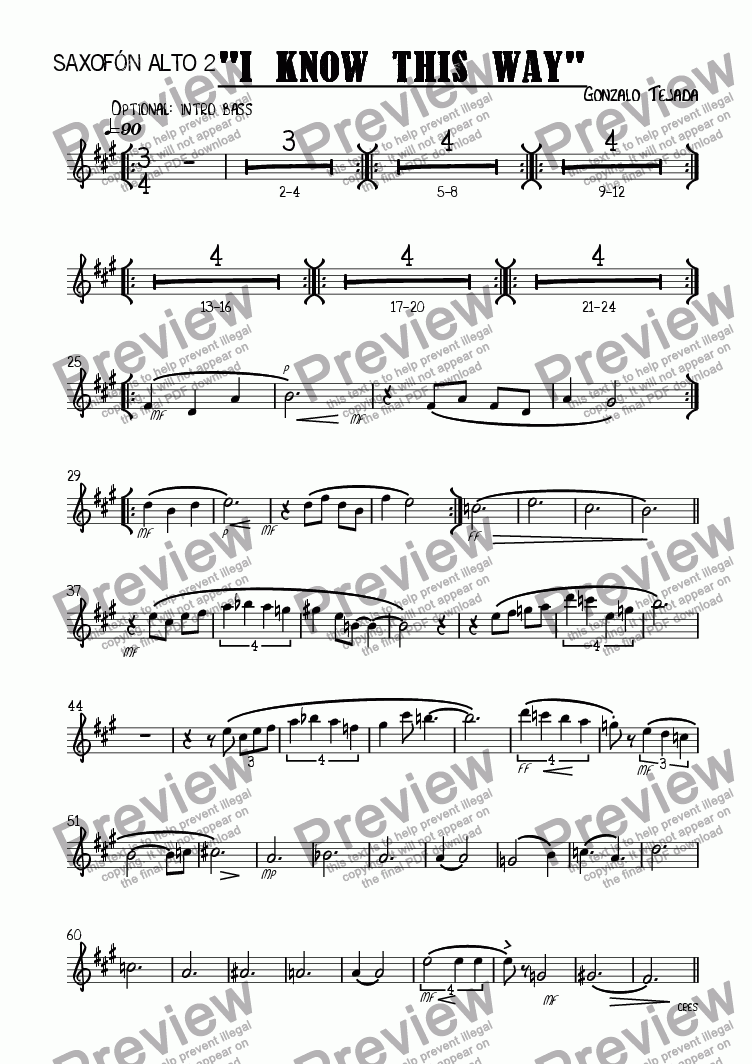 page one of the Saxofón Contralto 2 part from I KNOW THIS WAY