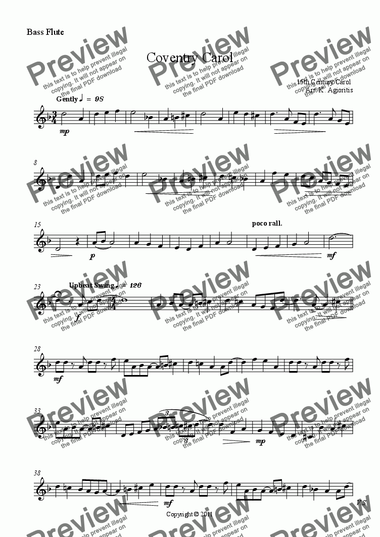 page one of the Bass Flute part from Coventry Carol - Flute Quartet