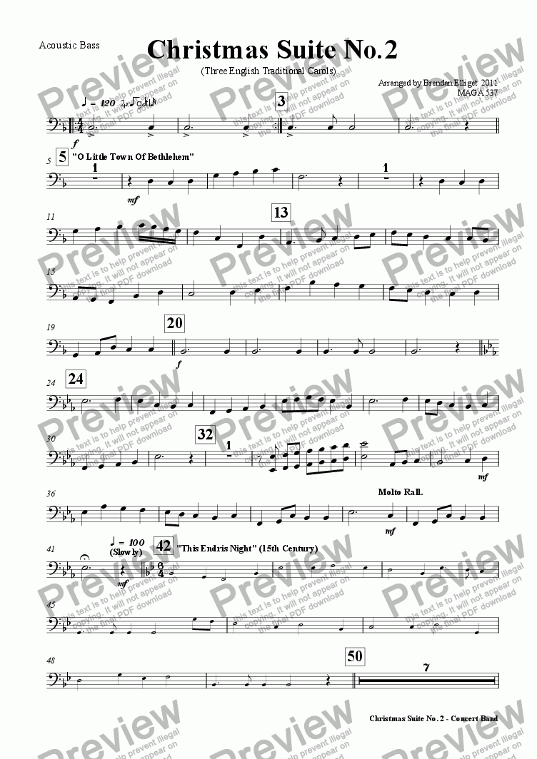 page one of the Acoustic Bass part from Christmas Suite No.2 (Concert Band)