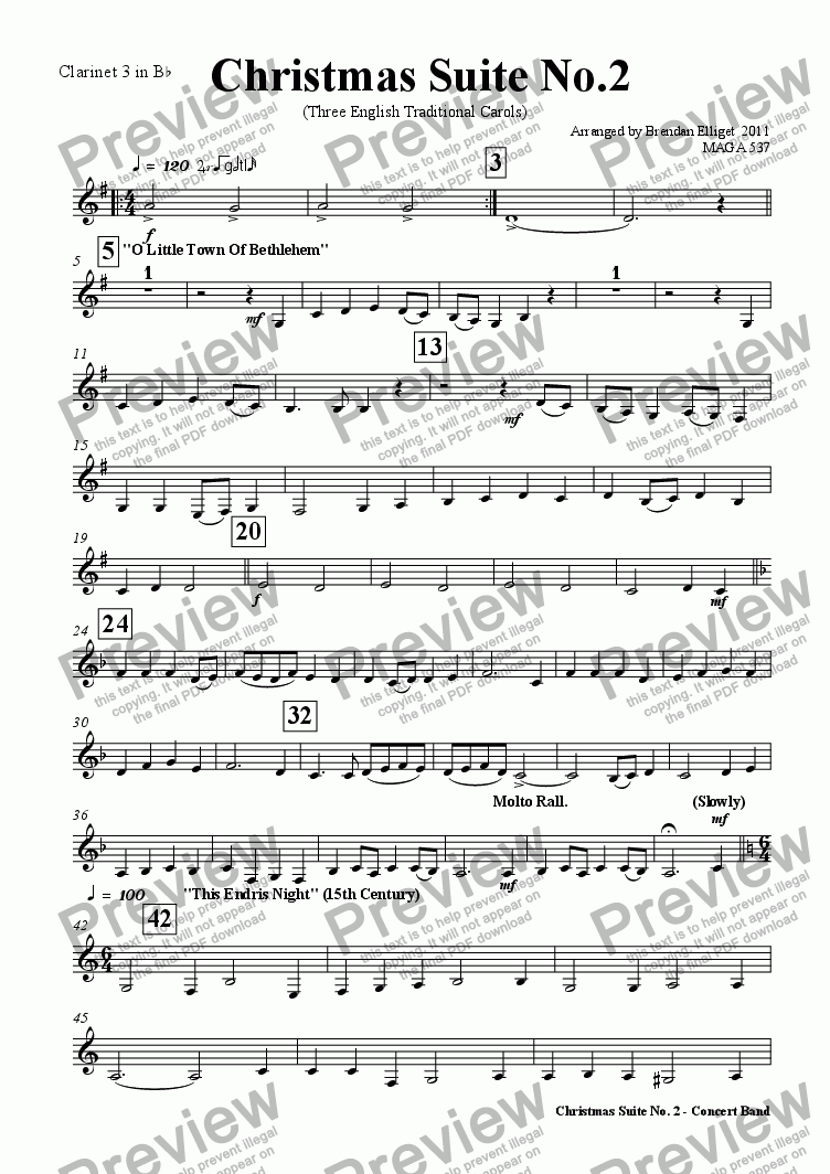 page one of the Clarinet 3 in B^b part from Christmas Suite No.2 (Concert Band)