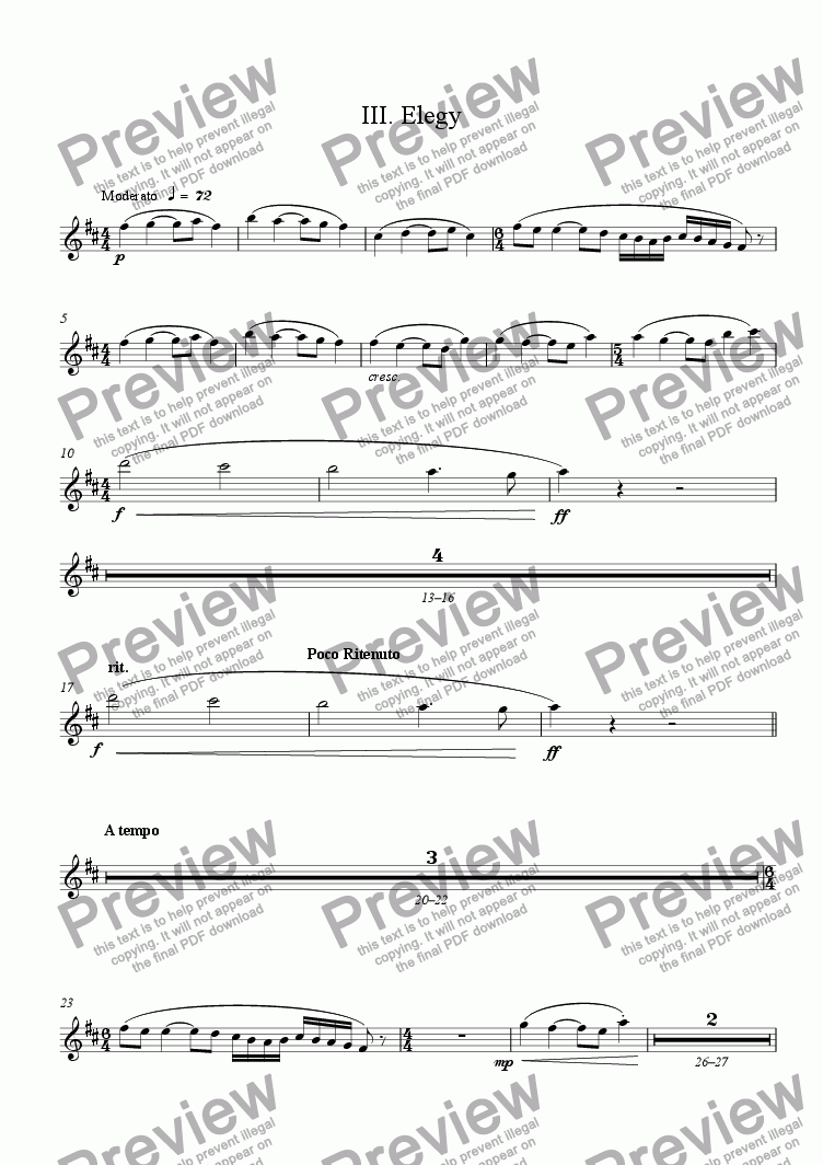 page one of the Soprano Saxophone for 3: Elegy part from Lyrical Concerto for Soprano Saxophone and Chamber Orchestra (piano reduction) 3: Elegy