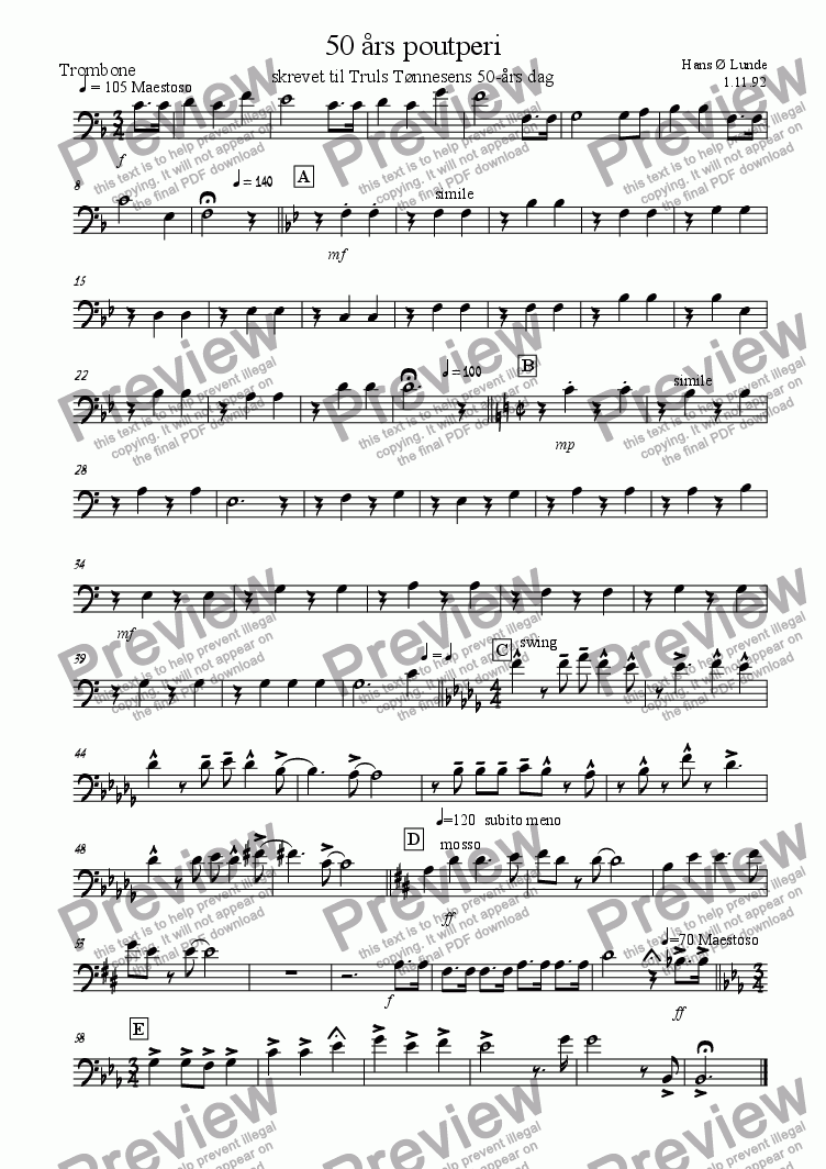 page one of the trombone part from 50 �rs poutperi (Birthday songs)