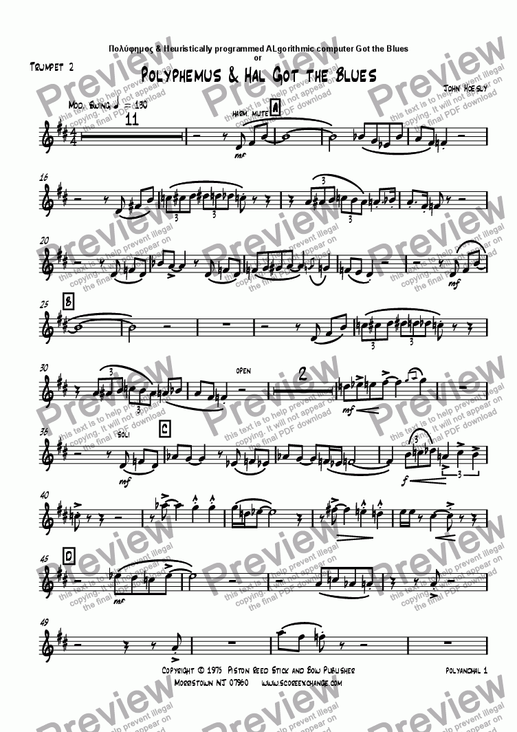 page one of the Trumpet 2 part from Polyphemus & Hal Got the Blues- big band