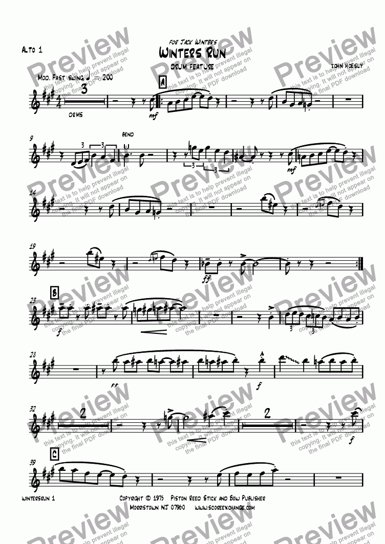 page one of the Alto 1 part from Winters Run- drum feature with big band