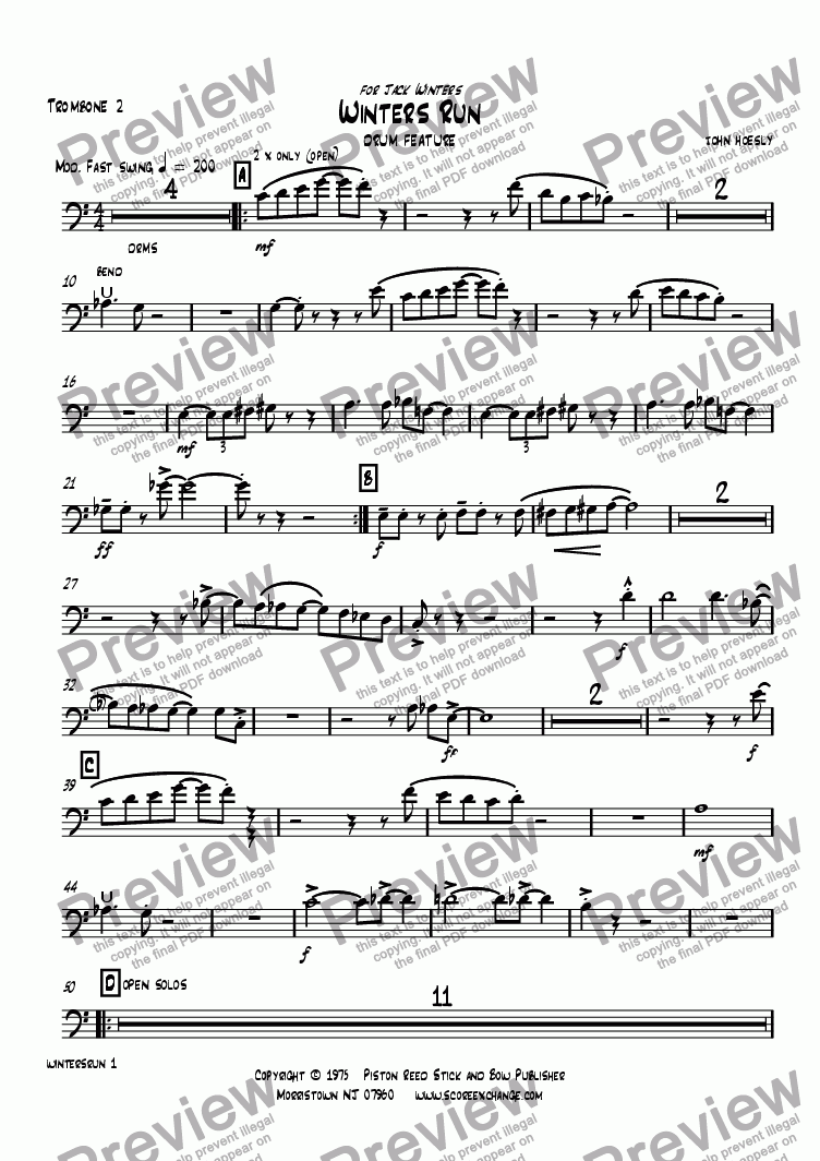 page one of the Trombone 2 part from Winters Run- drum feature with big band