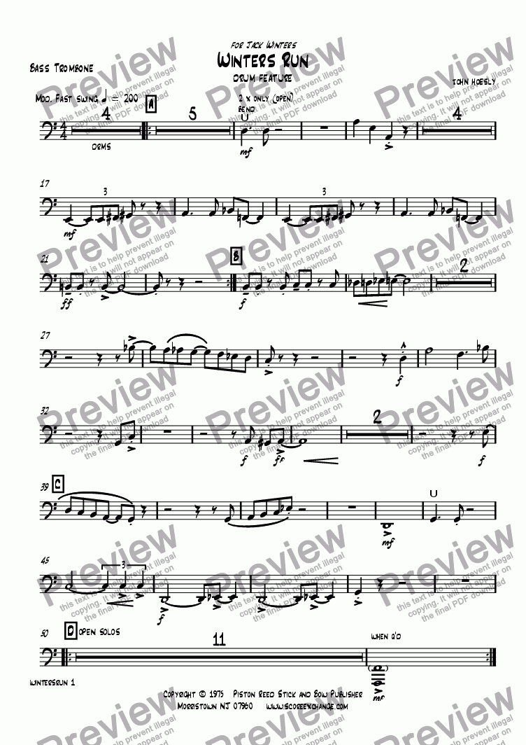 page one of the Bass Trombone part from Winters Run- drum feature with big band