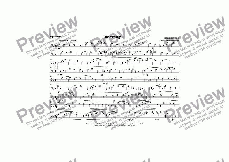 page one of the Euphonium part from Invercargill