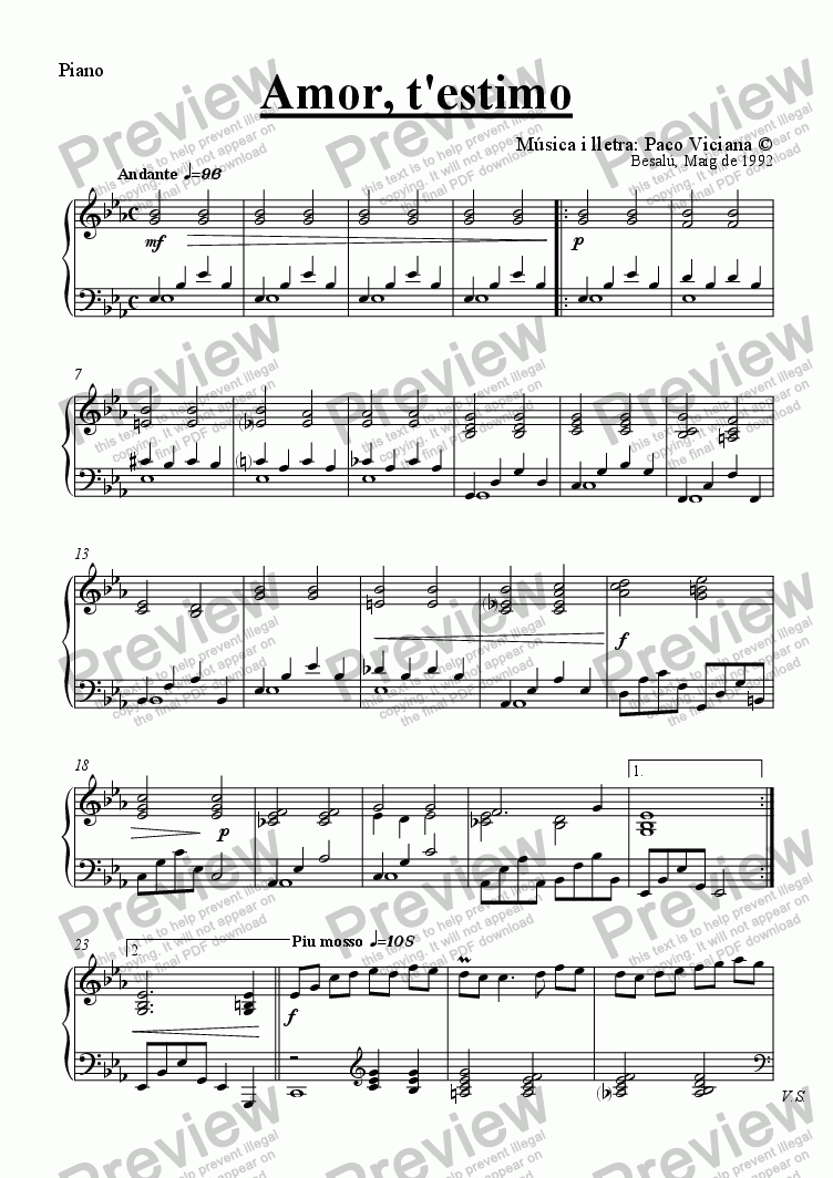 page one of the Piano part from 041-Amor t'estimo (catalan)-(Arrangement 1)
