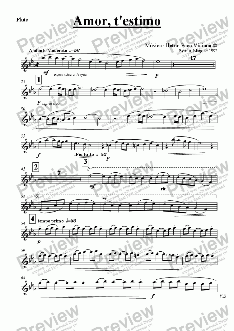page one of the Flute part from 041-Amor t'estimo (catalan)-(Arrangement 4)