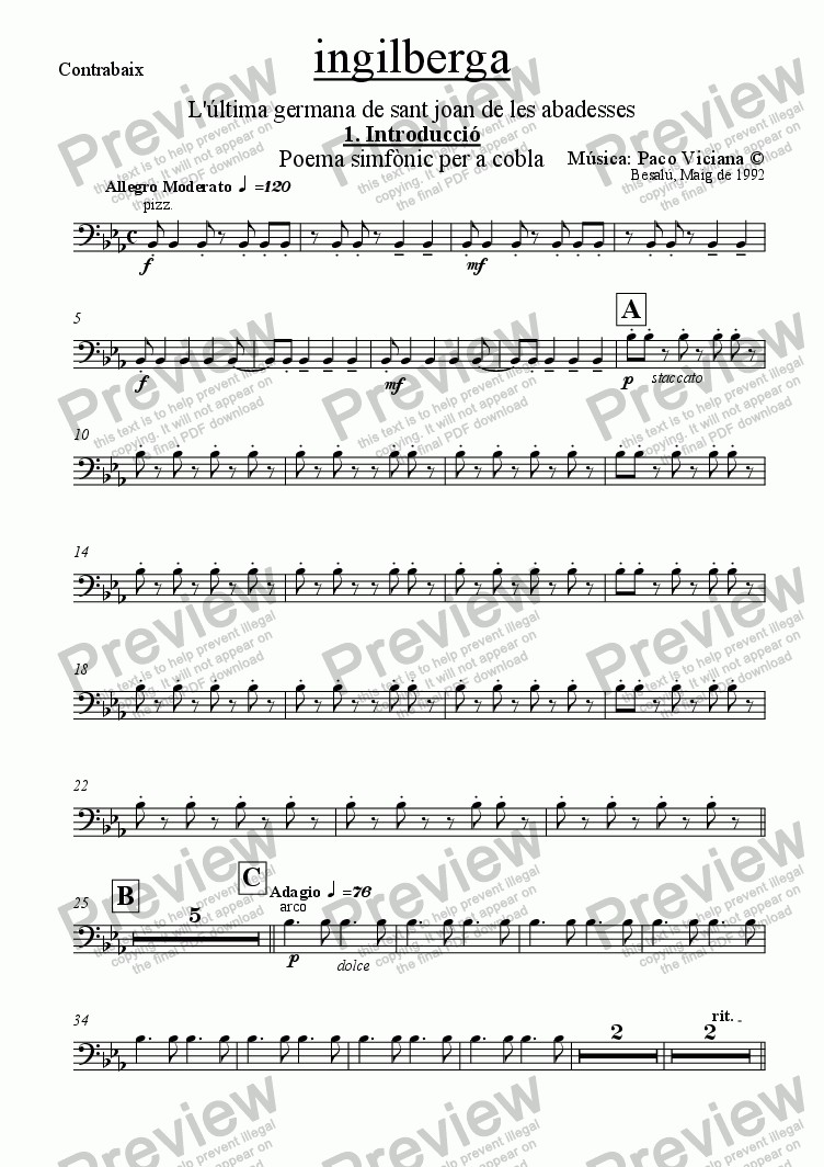 page one of the Contrabaix part from 042-Ingilberga