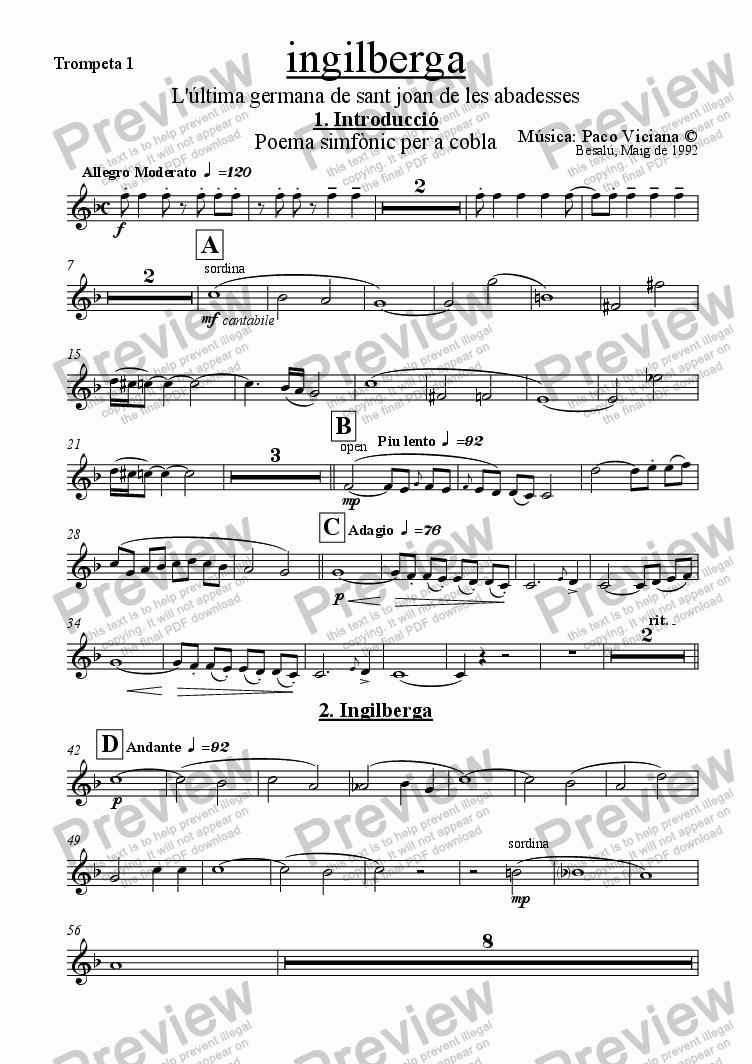 page one of the Trompeta 1 part from 042-Ingilberga