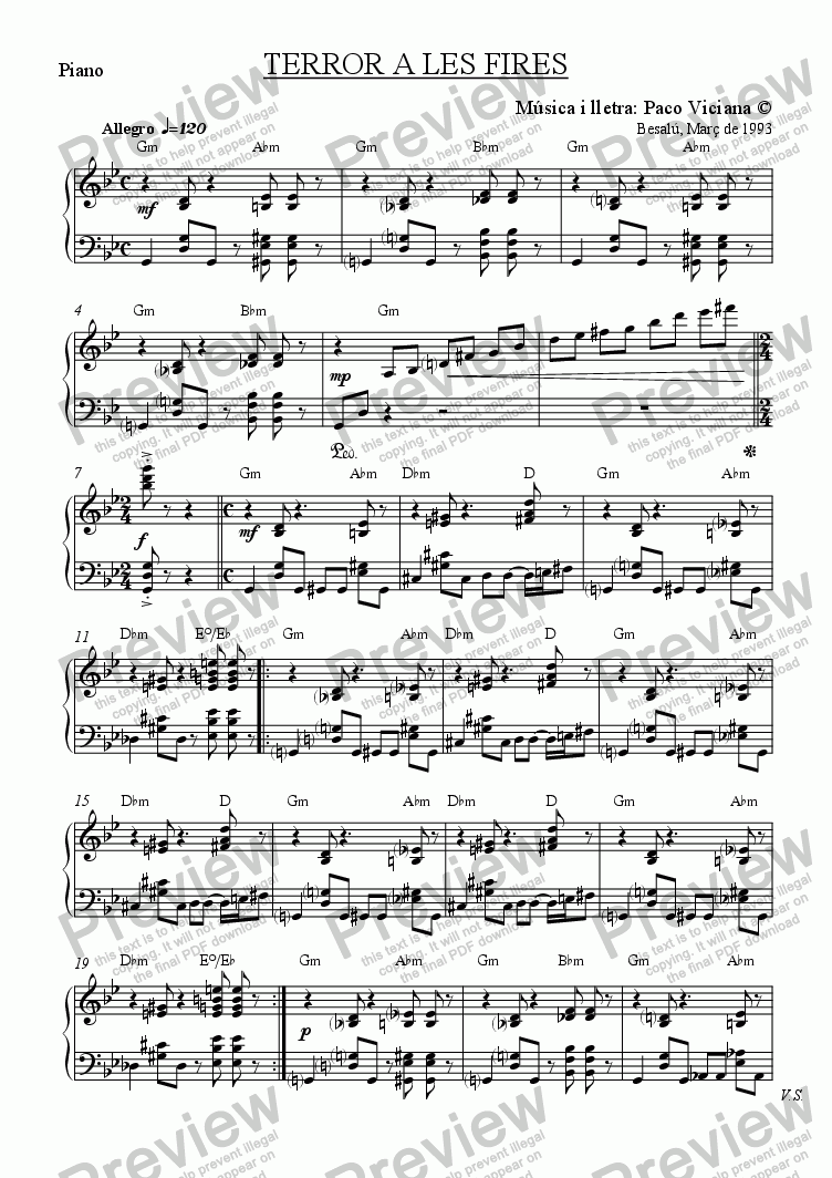 page one of the Piano part from 045-Terror a les fires (catalan)