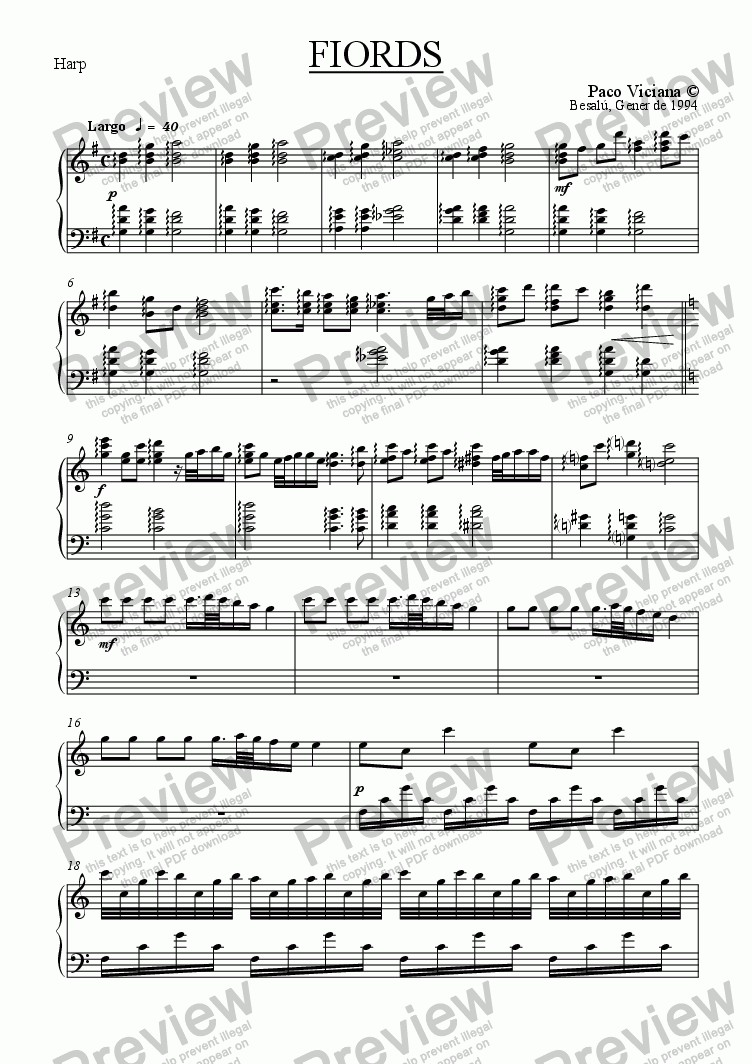 page one of the Harp part from 049-Fiords (Video clip)