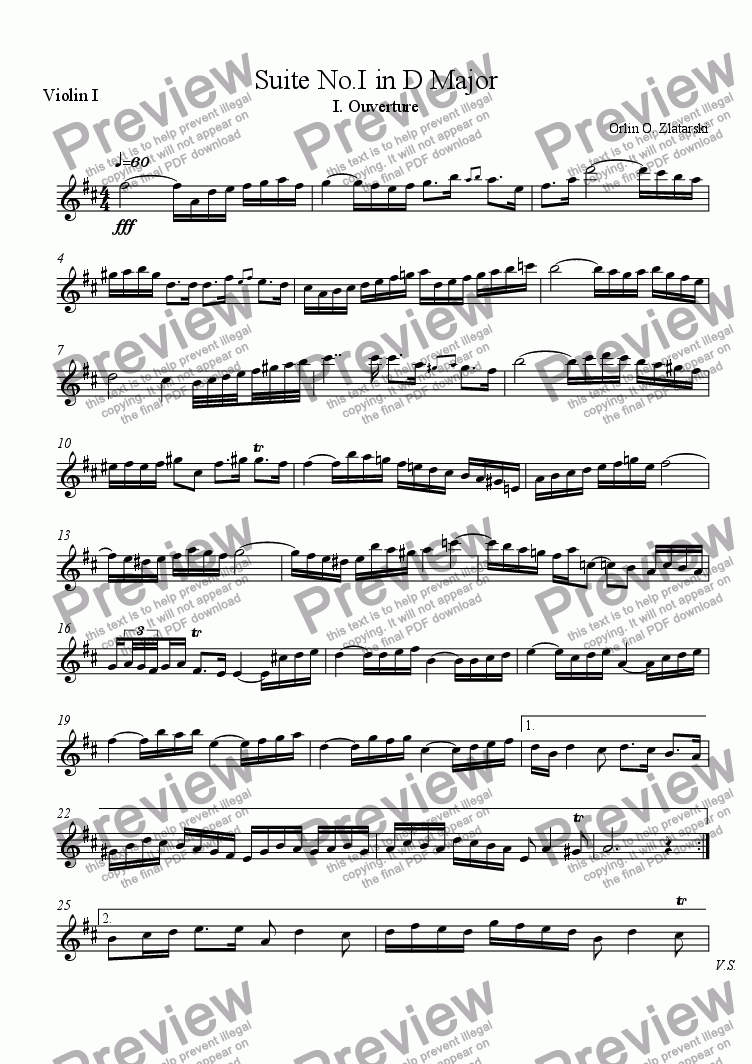 page one of the Violin I part from Orchestral Suite No.I in D Major I. Ouverture R.822