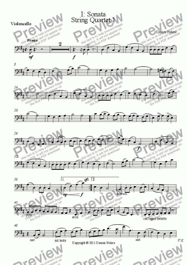 page one of the Violoncello part from String Quartet 1
