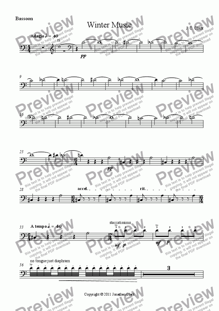 page one of the Bassoon part from Winter Music