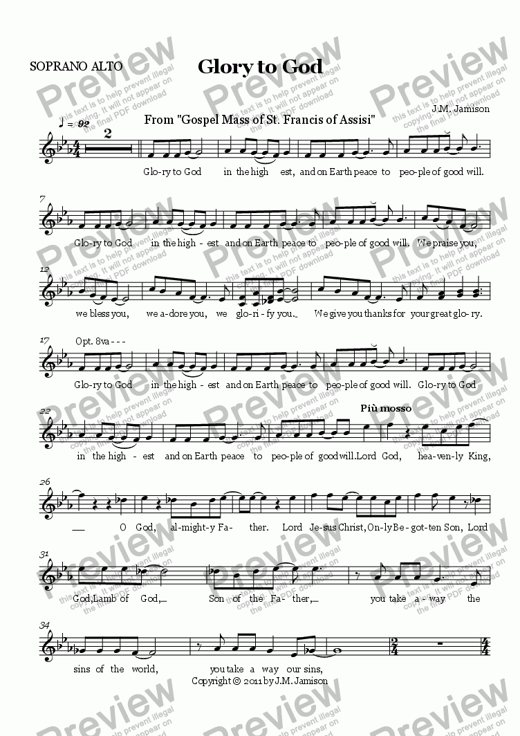 page one of the SOPRANO ALTO part from Glory to God (Gospel Mass)