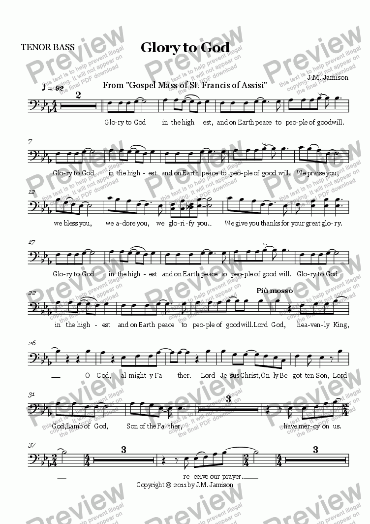 page one of the TENOR BASS part from Glory to God (Gospel Mass)