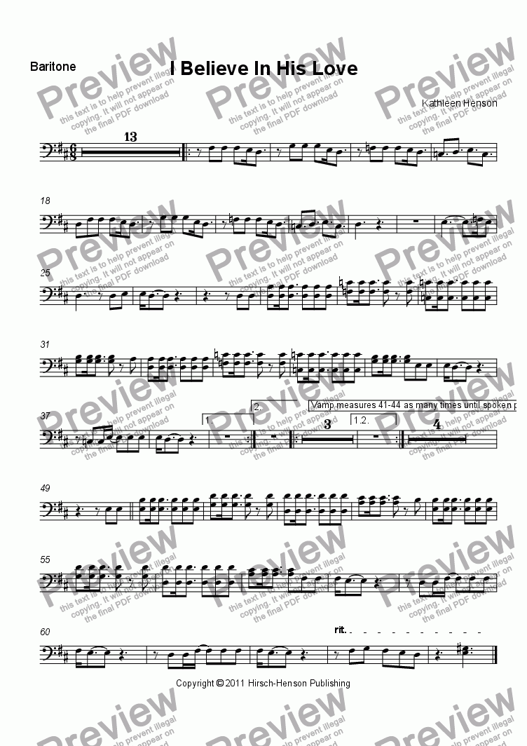 page one of the Tenor/Bass part from I Believe In His Love (SATB)