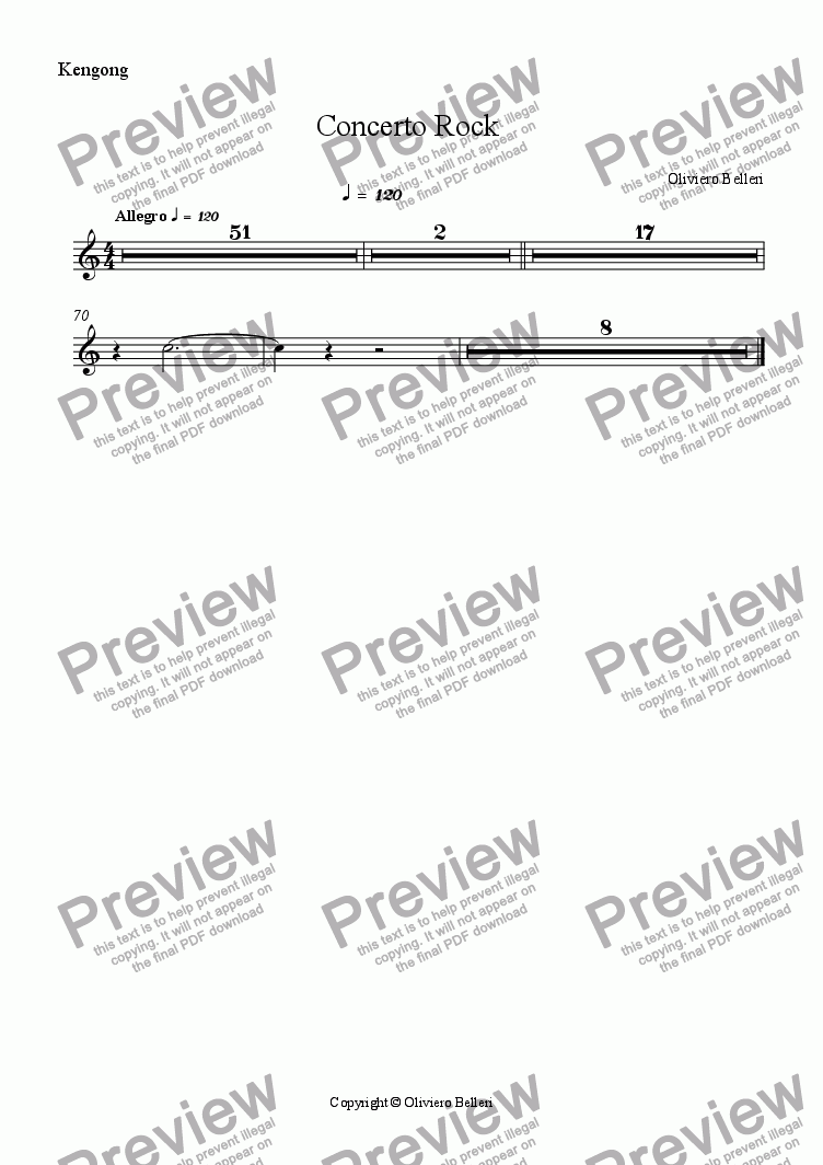 page one of the Kengong part from Concerto Rock