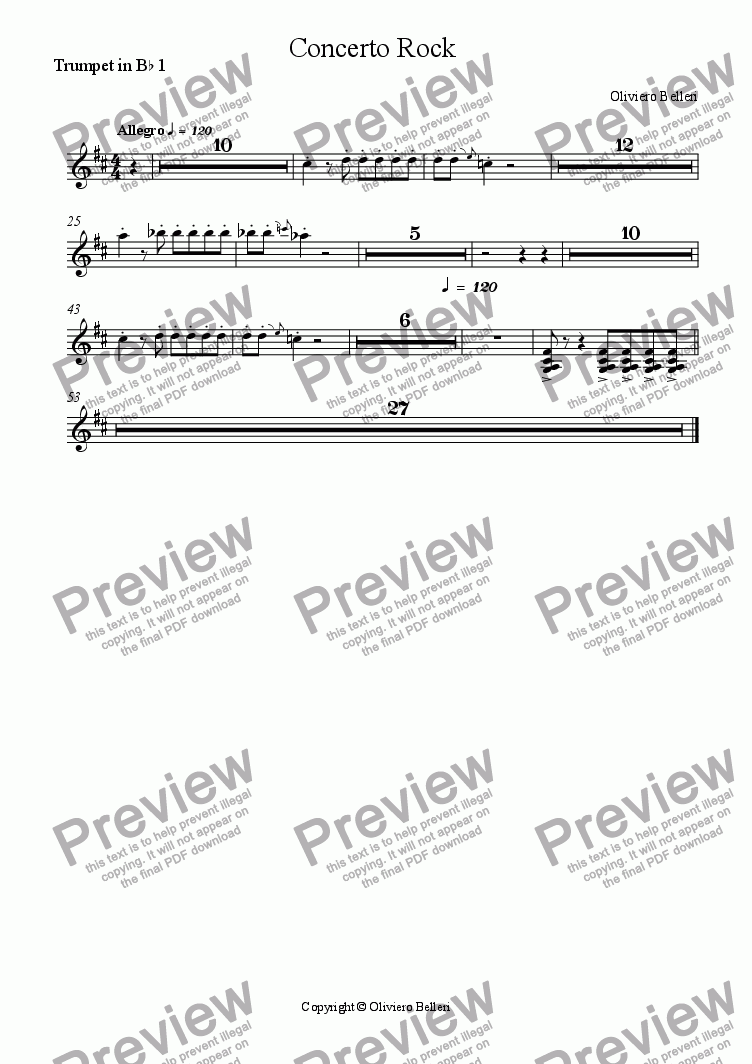 page one of the Trumpet in B^b 1 part from Concerto Rock