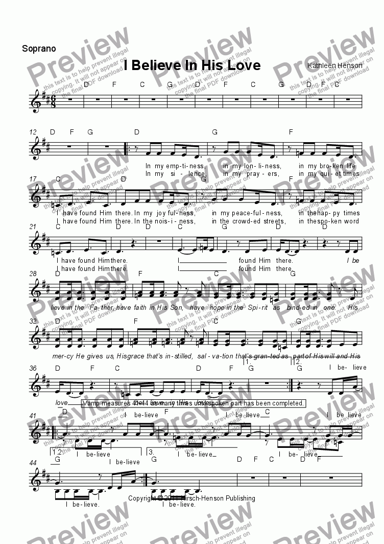 page one of the Soprano/Alto part from I Believe In His Love (SAB)