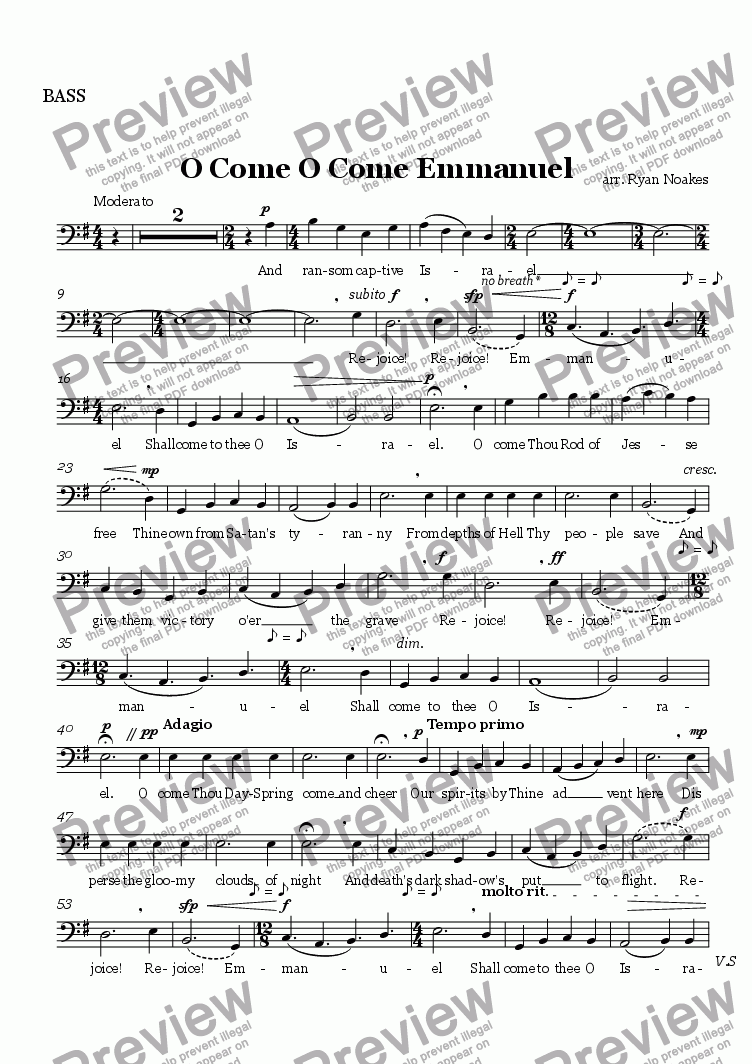 page one of the BASS part from O Come O Come Emmanuel