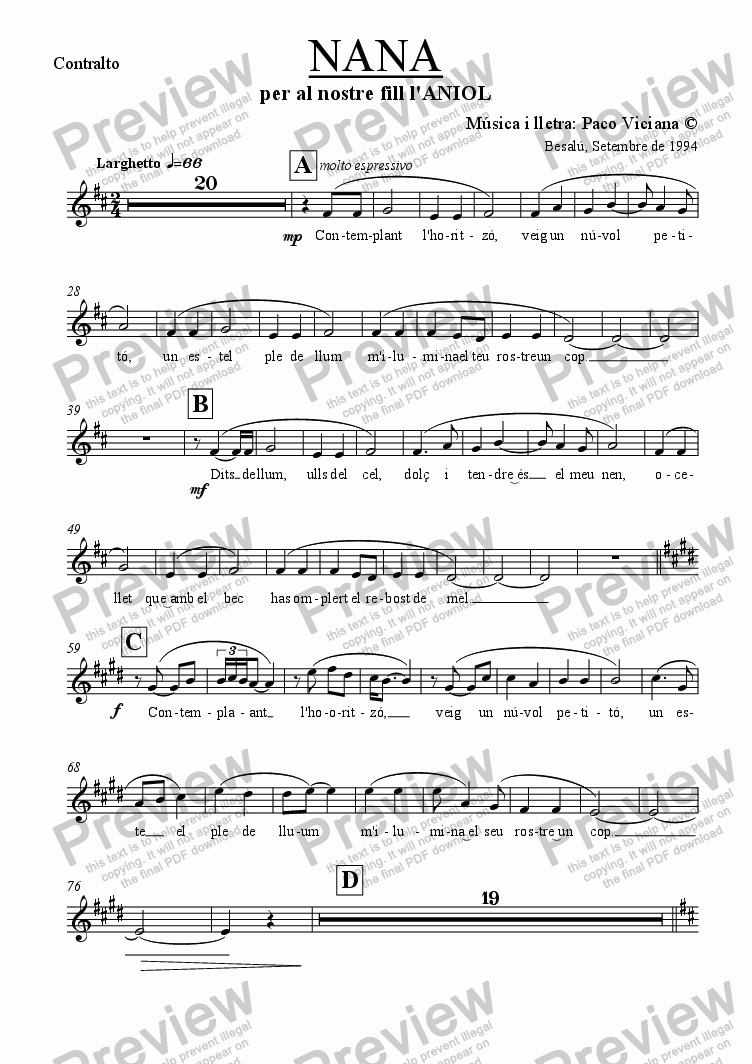 page one of the Contralto part from 062-Nana (catalan)-(Arrangement 4)