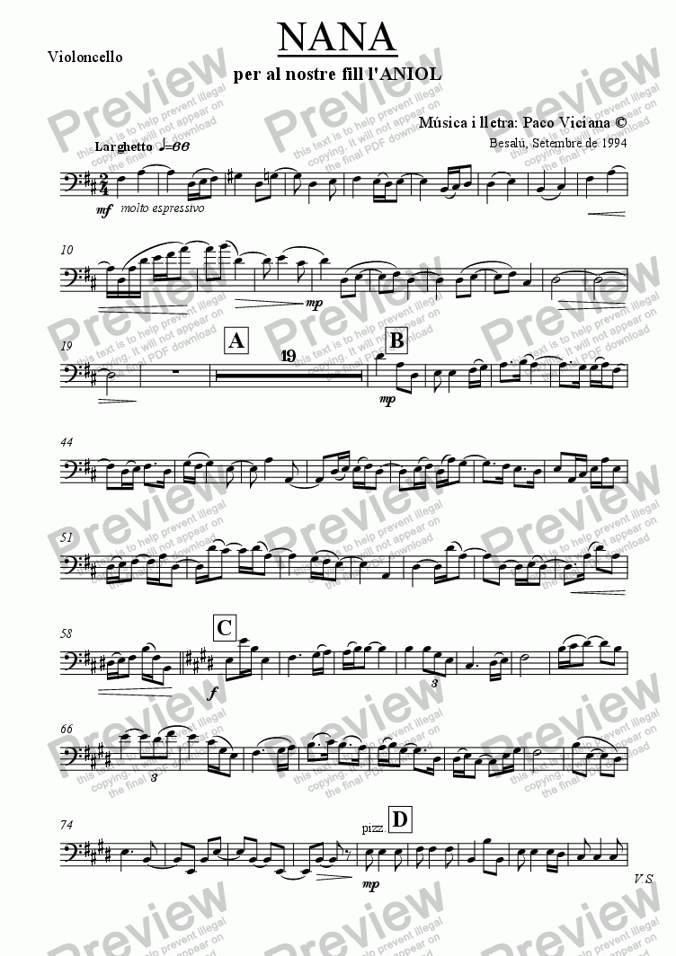 page one of the Violoncello part from 062-Nana (catalan)-(Arrangement 4)