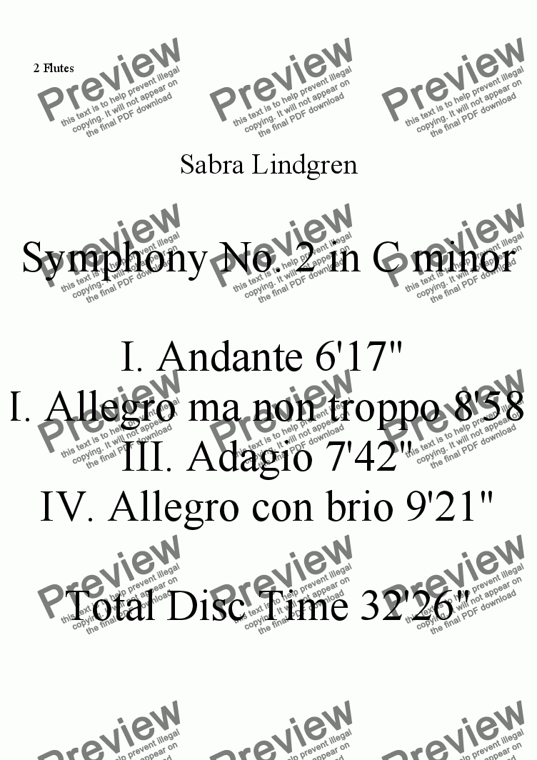 page one of the 2 Flutes part from Symphony No. 2 in C minor  II. Allegro ma non troppo