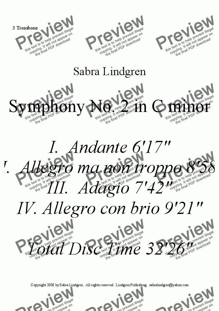 page one of the 3 Trombone part from Symphony No. 2 in C minor IV.  Allegro con brio