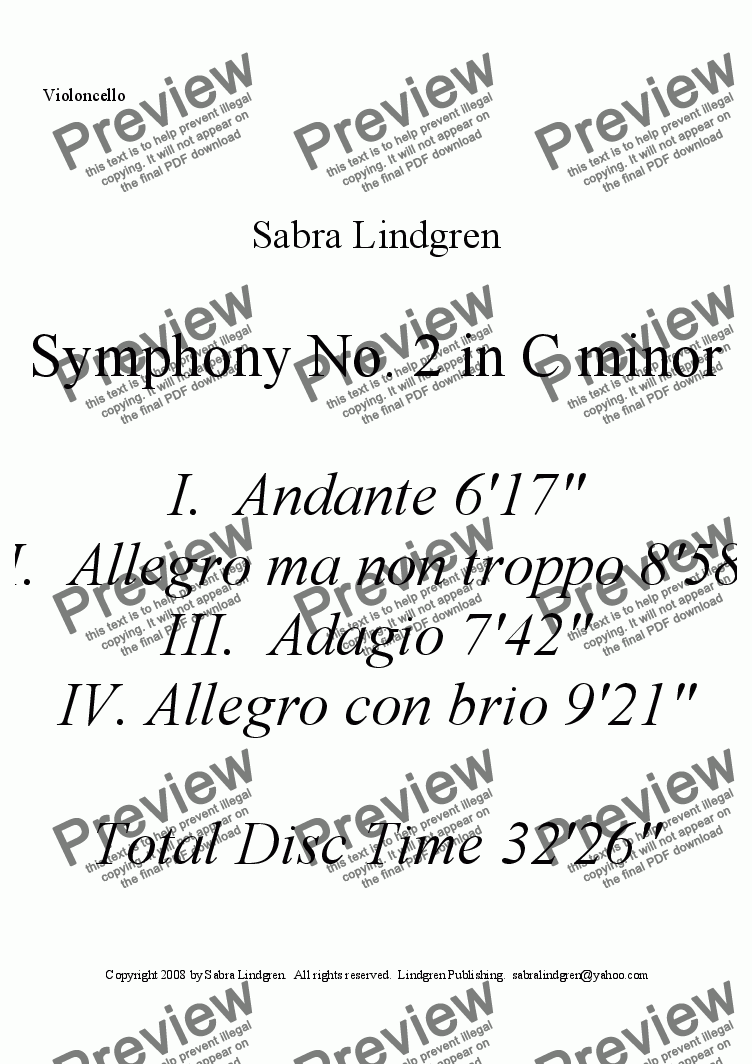 page one of the Violoncello part from Symphony No. 2 in C minor IV.  Allegro con brio