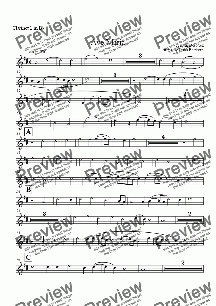 page one of the Clarinet 1 in B^b part from Ave Maria
