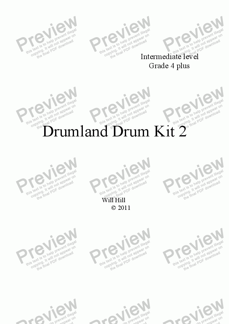 page one of the DK2 part from Drumland Duet For Two Drum Kits
