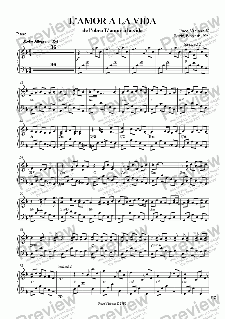 page one of the Piano part from 075-L'amor a la vida (01-L'amor a la vida)-Arrangement