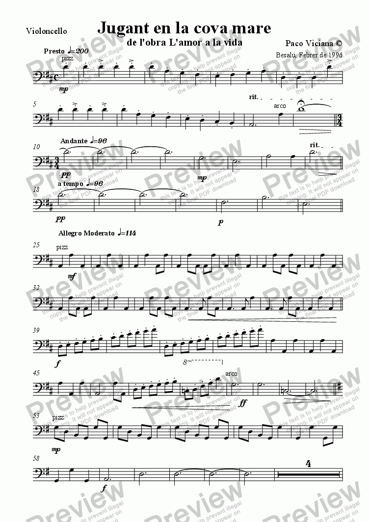 page one of the Violoncello part from 075-L'amor a la vida (04-Jugant en la cova mare)-Arrangement
