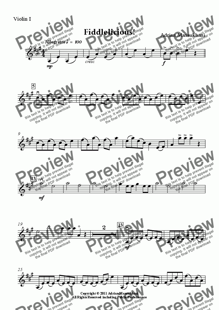 page one of the Violin I part from Fiddlelicious! for young string orchestra