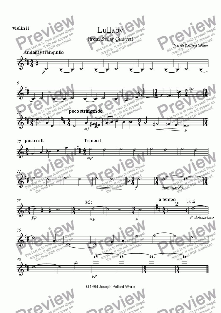 page one of the violin 2 part from Lullaby