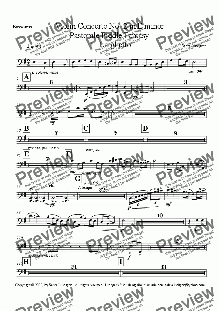 page one of the Bassoons part from Violin Concerto No. 2 in E minor, II. Larghetto, Arranged for Solo Violin with Full Orchestra and Ha
