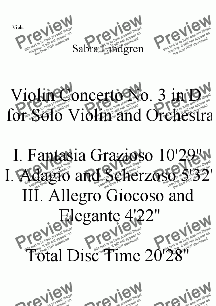 page one of the Viola part from Violin Concerto No. 3 in D  for Solo Violin and Orchestra, I. Fantasy Grazioso