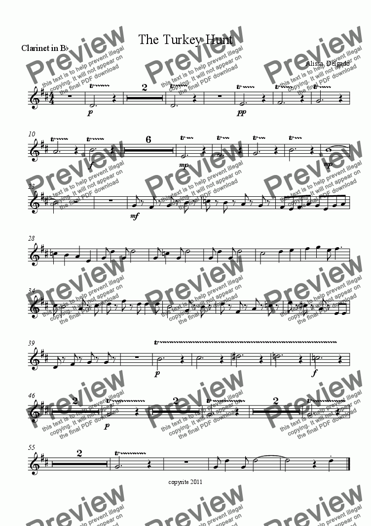 page one of the Clarinet in B^b part from The Turkey Hunt
