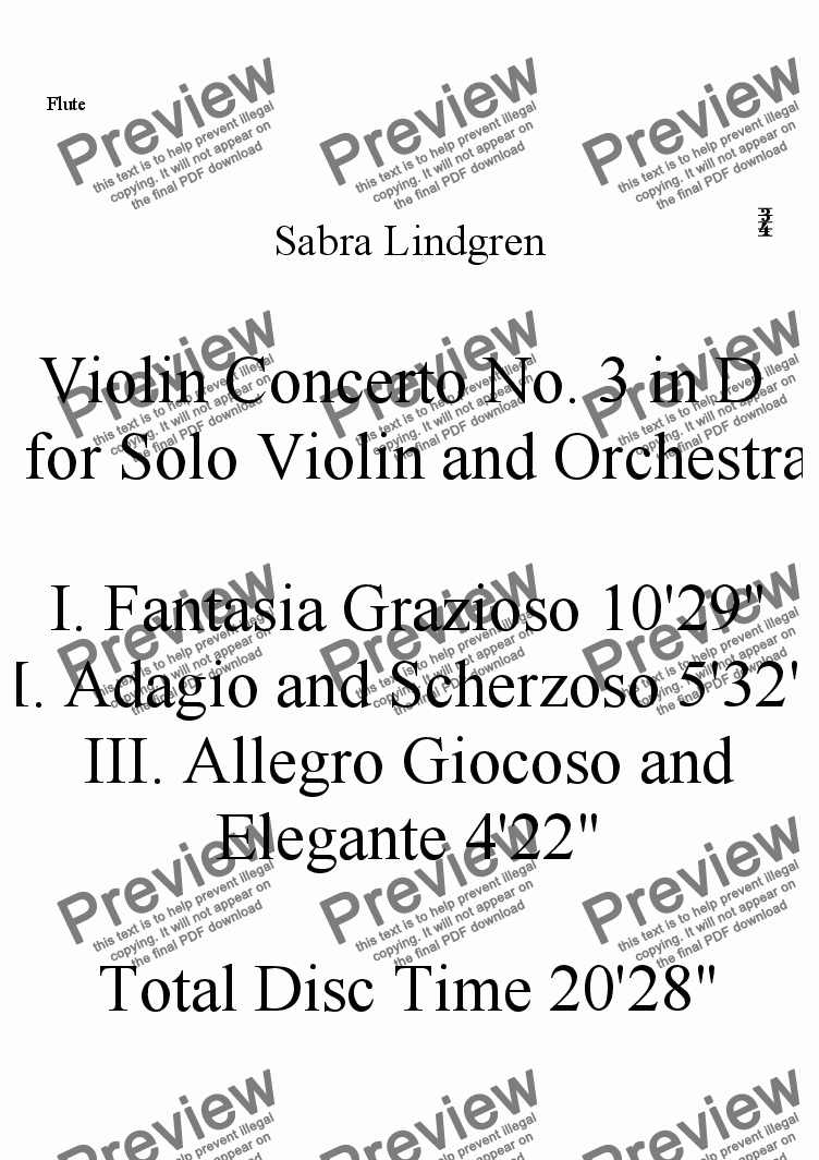 page one of the Flute part from Violin Concerto No. 3 in D  for Solo Violin and Orchestra, II. Adagio and Scherzoso