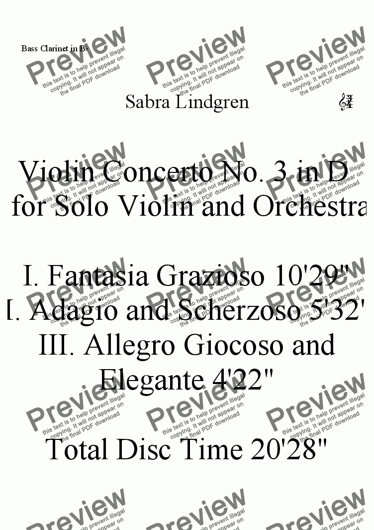 page one of the Bass Clarinet in B^b part from Violin Concerto No. 3 in D  for Solo Violin and Orchestra, II. Adagio and Scherzoso