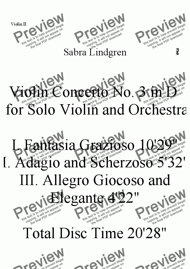 page one of the Violin II part from Violin Concerto No. 3 in D  for Solo Violin and Orchestra, II. Adagio and Scherzoso