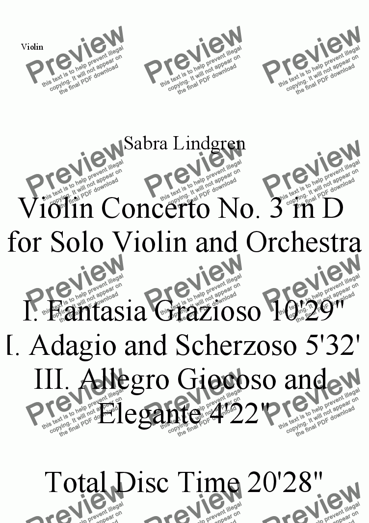 page one of the Violin part from Violin Concerto No. 3 in D for Solo Violin and Orchestra, III. Allegro Giocoso a