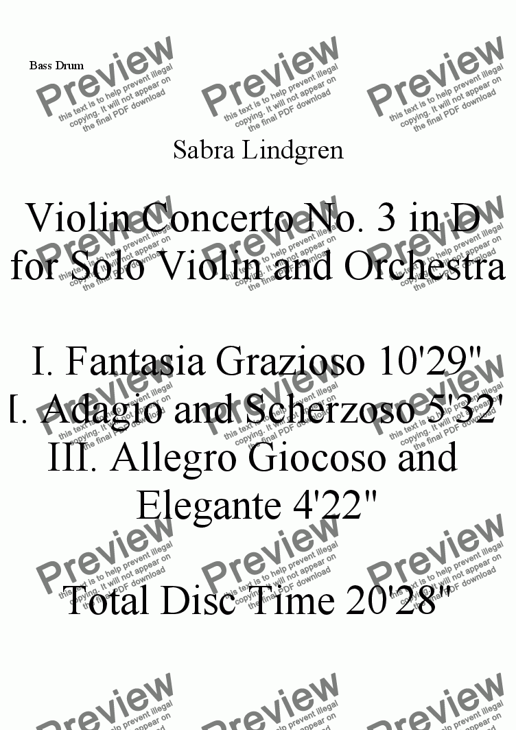 page one of the Bass Drum part from Violin Concerto No. 3 in D for Solo Violin and Orchestra, III. Allegro Giocoso a